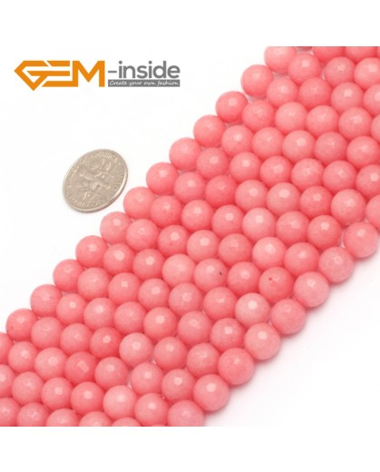 "G7910 8mm Round Faceted Pink Jade Loose Beads Strand 15"" Natural Stone Beads for Jewelry Making Wholesale"