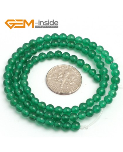 "G7923 4mm Round Natural Green Agate Stone Beads 15"" Natural Stone Beads for Jewelry Making Wholesale"