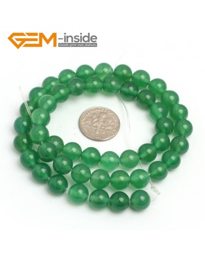"G7925 8mm Round Natural Green Agate Stone Beads 15"" Natural Stone Beads for Jewelry Making Wholesale"