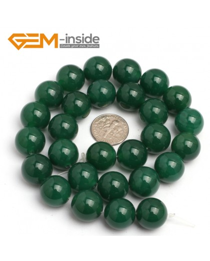 "G7928 14mm Round Natural Green Agate Stone Beads 15"" Natural Stone Beads for Jewelry Making Wholesale"