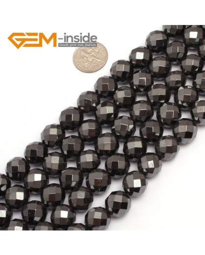 "G7938 12mm Round Faceted Magnetic Black Hematite Stone Beads 15"" Natural Stone Beads for Jewelry Making Wholesale"