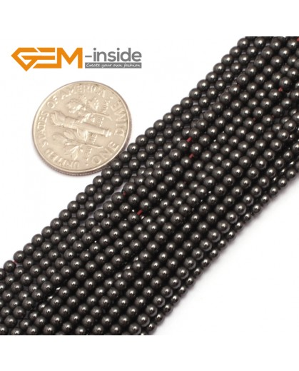 "G7939 2mm Round Magnetic Black Hematite Strand 15"" Natural Stone Beads for Jewelry Making Wholesale"