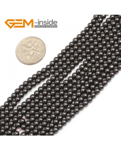 "G7940  3mm Round Magnetic Black Hematite Stone Strand 15"" Natural Stone Beads for Jewelry Making Wholesale"