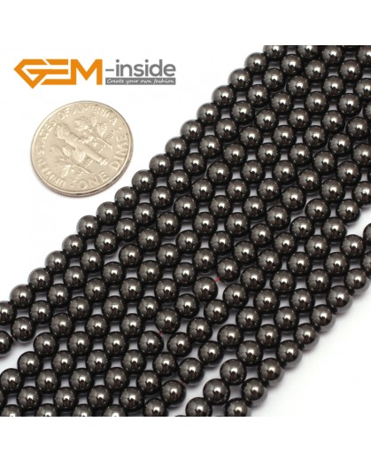 "G7941 4mm Round Magnetic Black Hematite Stone Strand 15"" Natural Stone Beads for Jewelry Making Wholesale"