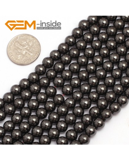 "G7942 6mm Round Magnetic Black Hematite Stone Strand 15"" Natural Stone Beads for Jewelry Making Wholesale"