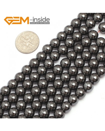 "G7943 8mm Round Magnetic Black Hematite Stone Strand 15"" Natural Stone Beads for Jewelry Making Wholesale"