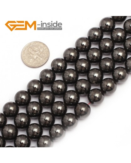"G7944 10mm Round Magnetic Black Hematite Stone Strand 15"" Natural Stone Beads for Jewelry Making Wholesale"