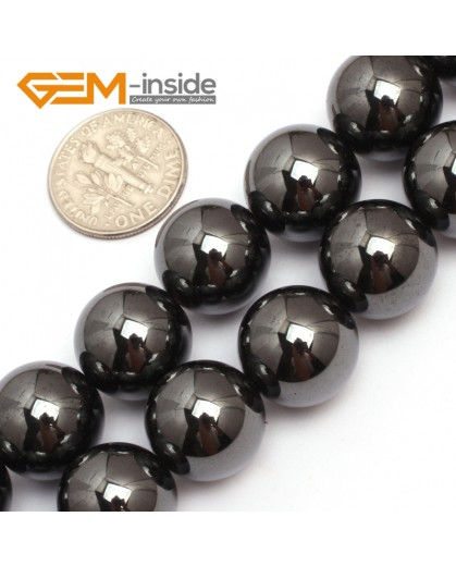 "G7946 14mm Round Magnetic Black Hematite Stone Strand 15"" Natural Stone Beads for Jewelry Making Wholesale"