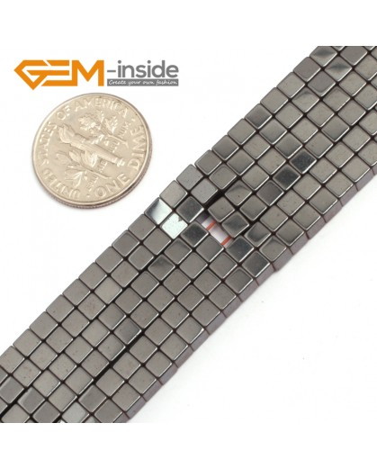 "G7947 3mm Cubic Magnetic Black Hematite Stone Strand 15"" Natural Stone Beads for Jewelry Making Wholesale"