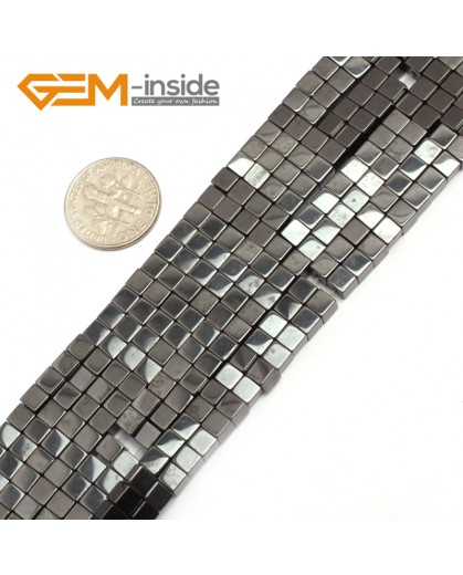 "G7948 4mm Cubic Magnetic Black Hematite Stone Strand 15"" Natural Stone Beads for Jewelry Making Wholesale"