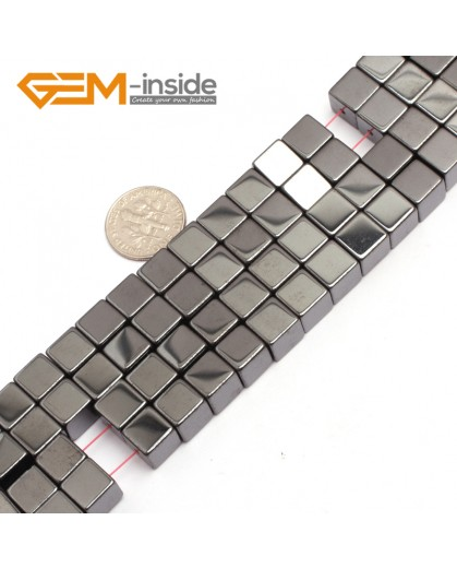 "G7950 8mm Cubic Magnetic Black Hematite Stone Strand 15"" Natural Stone Beads for Jewelry Making Wholesale"