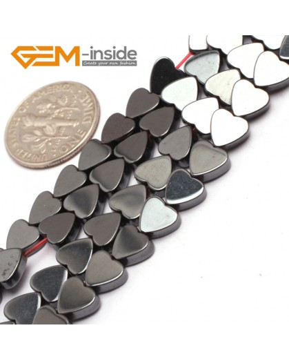 "G7952 8mm Heart Magnetic Flat Black Hematite Stone Strand 15"" Natural Stone Beads for Jewelry Making Wholesale"