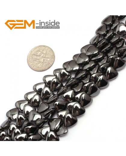 "G7953 8mm Heart  Magnetic Black Hematite Stone Strand 15"" Natural Stone Beads for Jewelry Making Wholesale"