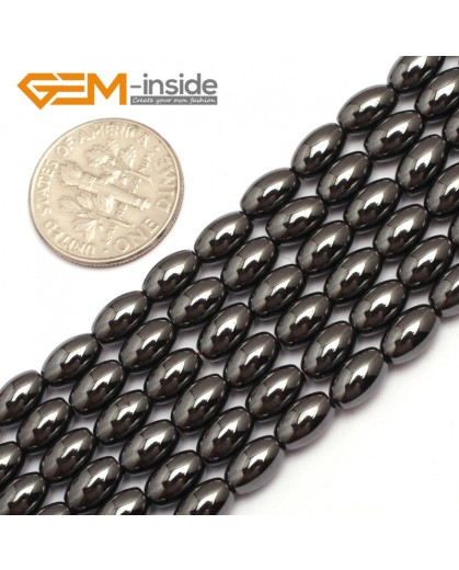 "G7958 4x6mm Olivary Rice Magnetic Black Hematite Stone Strand 15"" Natural Stone Beads for Jewelry Making Wholesale"