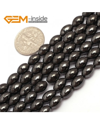 "G7959 5x8mm Olivary Rice Magnetic Black Hematite Stone Strand 15"" Natural Stone Beads for Jewelry Making Wholesale"