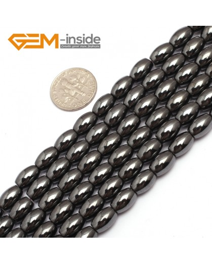 "G7960 6x9mm Olivary Rice Magnetic Black Hematite Stone Strand 15"" Natural Stone Beads for Jewelry Making Wholesale"