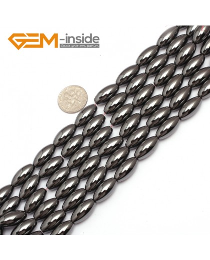 "G7961 8x12mm Olivary Rice Magnetic Black Hematite Stone Strand 15"" Natural Stone Beads for Jewelry Making Wholesale"