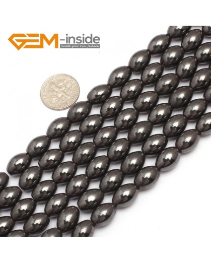 "G7962 8x16mm Olivary Rice Magnetic Black Hematite Stone Strand 15"" Natural Stone Beads for Jewelry Making Wholesale"