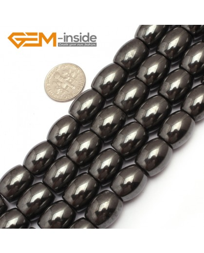 "G7963 12x14mm Olivary Rice Magnetic Black Hematite Stone Strand 15"" Natural Stone Beads for Jewelry Making Wholesale"