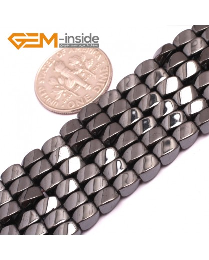 "G7964 3x5mm Twist Black Hematite Gemstone Magnetic  Loose Beads 15"" Natural Stone Beads for Jewelry Making Wholesale"