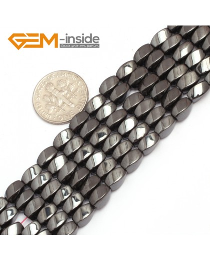 """G7965 4x7mm Twist Black Hematite Gemstone Magnetic  Loose Beads 15"""" Natural Stone Beads for Jewelry Making Wholesale"""
