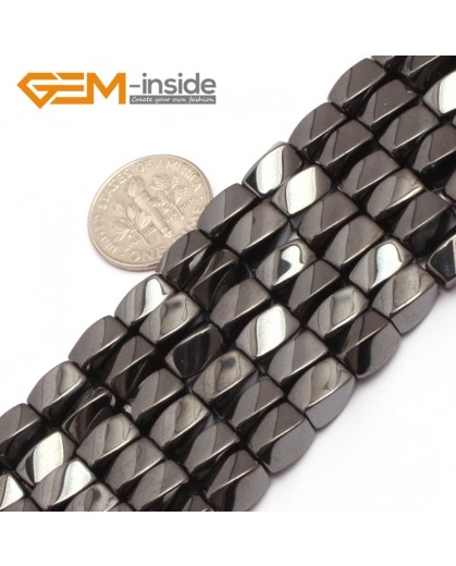 "G7966 5x8mm Twist Black Hematite Gemstone Magnetic  Loose Beads 15"" Natural Stone Beads for Jewelry Making Wholesale"