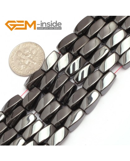 "G7967 5x11mm Twist Black Hematite Gemstone Magnetic  Loose Beads 15"" Natural Stone Beads for Jewelry Making Wholesale"