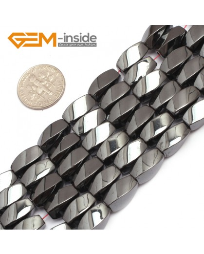 """G7968 8x12mm Twist Black Hematite Gemstone Magnetic  Loose Beads 15"""" Natural Stone Beads for Jewelry Making Wholesale"""