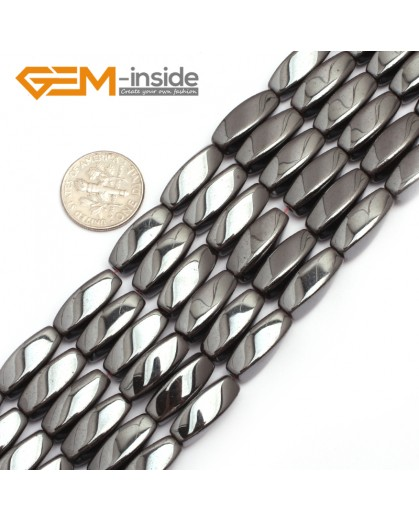 "G7969 8x16mm Twist Black Hematite Gemstone Magnetic  Loose Beads 15"" Natural Stone Beads for Jewelry Making Wholesale"