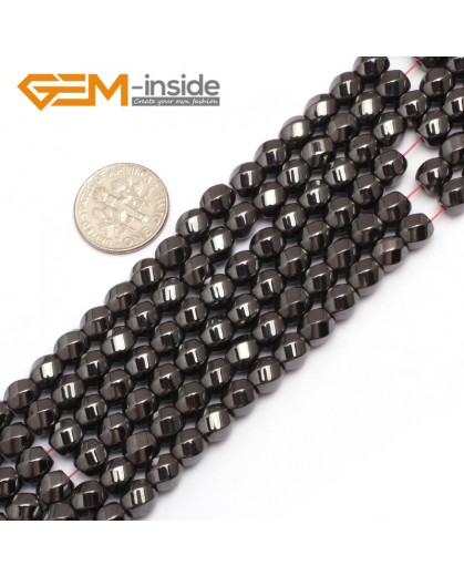 "G7970 6mm Round Twist  Magnetic Black Hematite Gemstone Loose Beads 15"" Natural Stone Beads for Jewelry Making Wholesale"