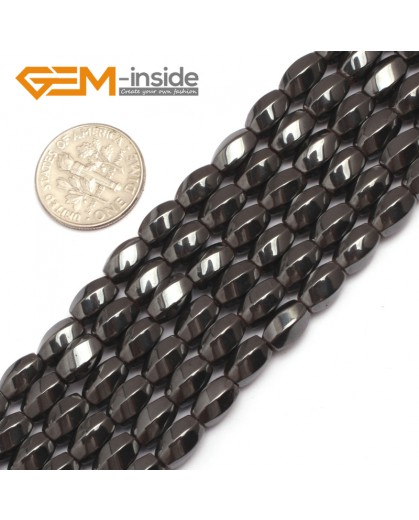 "G7972 5x8mm Rice Olivary Faced Twist Magnetic Black Hematite Gemstone Loose Beads 15"" Natural Stone Beads for Jewelry Making Wholesale"