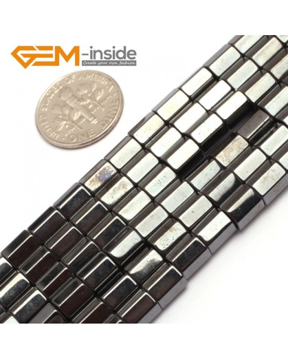 "G7974 6x6mm Column Faced Magnetic Black Hematite Gemstone Loose Beads 15"" Natural Stone Beads for Jewelry Making Wholesale"