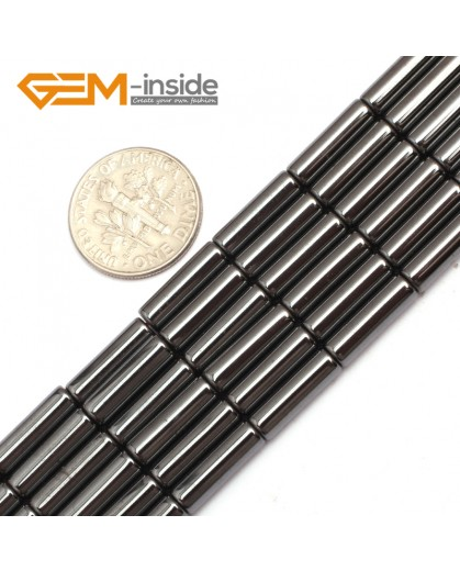 "G7979 4x12mm Column Magnetic Black Hematite Gemstone Loose Beads 15"" Natural Stone Beads for Jewelry Making Wholesale"
