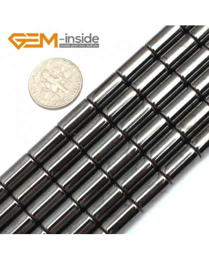 "G7980 6x12mm Column Magnetic Black Hematite Gemstone Loose Beads 15"" Natural Stone Beads for Jewelry Making Wholesale"