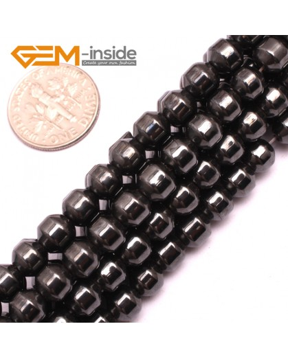 "G7983 6mm Column Pointy Magnetic Black Hematite Loose Beads Gemstone15"" Natural Stone Beads for Jewelry Making Wholesale"