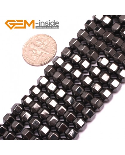 "G7985 6mm Faced Hexagoal Magnetic Black Hematite Gemstone Loose Beads15"" Natural Stone Beads for Jewelry Making Wholesale"