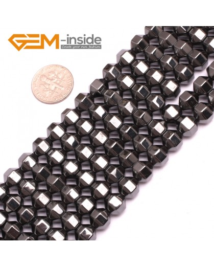 "G7986 8mm Faced Hexagoal Magnetic Black Hematite Gemstone Loose Beads15"" Natural Stone Beads for Jewelry Making Wholesale"