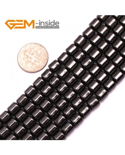 "G7987 6x6mm Drum Magnetic Black Hematite Gemstone Loose Beads Strand 15"" Natural Stone Beads for Jewelry Making Wholesale"