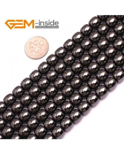 "G7989 8x8mm (Column) Gemstone Magnetic Black Hematite DIY Crafts Making Loose Beads Strand 15"" Natural Stone Beads for Jewelry Making Wholesale"