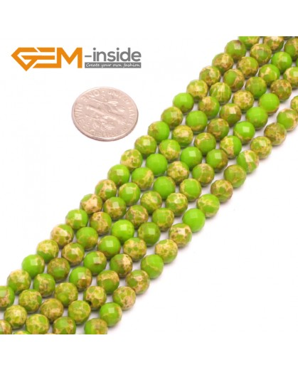 """G8001 6mm Round  Apple Green  Faceted Sea Sediment Jasper Beads Dyed Color 15"""" Beads for Jewelry Making Wholesale"""