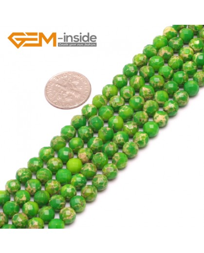 """G8002 6mm Round Green Faceted Sea Sediment Jasper Beads Dyed Color 15"""" Beads for Jewelry Making Wholesale"""