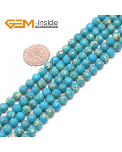 """G8005 6mm Round Blue Faceted Sea Sediment Jasper Beads Dyed Color 15"""" Beads for Jewelry Making Wholesale"""