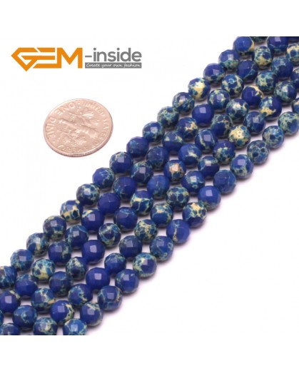 """G8006 6mm Round Dark Blue Faceted Sea Sediment Jasper Beads Dyed Color 15"""" Beads for Jewelry Making Wholesale"""