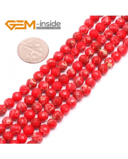 """G8009 6mm Round Red Faceted Sea Sediment Jasper Beads Dyed Color 15"""" Beads for Jewelry Making Wholesale"""