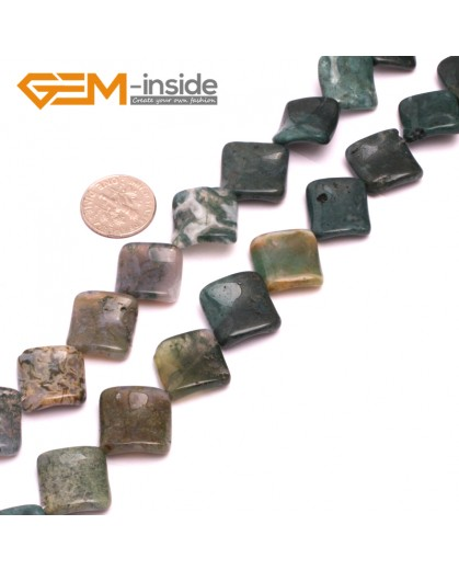 """G8015 16mm Square Wave Natural Green Moss Agate Stone 15""""  Natural Stone Beads for Jewelry Making Wholesale"""