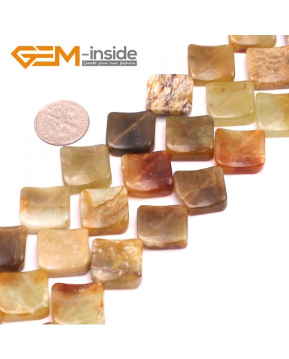"""G8016 16mm Square Wave Natural Hua Show Jade Stone 15""""  Natural Stone Beads for Jewelry Making Wholesale"""