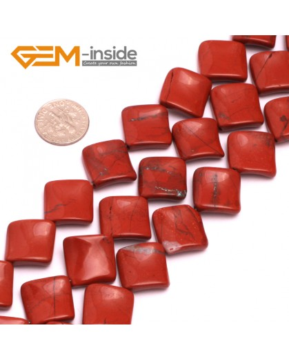 "G801716mm Square Wave Natural Red Jasper Stone 15""  Natural Stone Beads for Jewelry Making Wholesale"