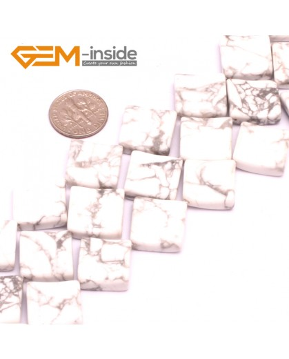 """G8018 16mm Square Wave Natural Howlite Stone 15""""  Natural Stone Beads for Jewelry Making Wholesale"""
