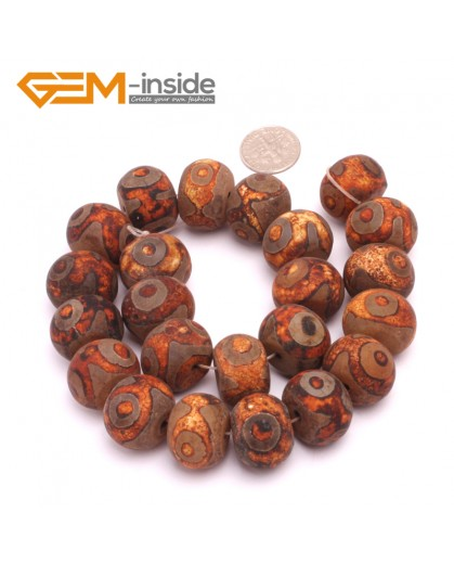 G8105 14x20mm Rondelle 23 Pcs Bamboo Column Rondelle Gemstone Vintage Dzi Tibet Agate DIY Loose Beads Natural Stone Beads for Jewelry Making Wholesale