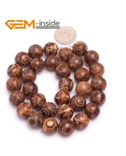"""G8124 12mm Round Gemstone Coffee Vintage Dzi Tibet Agate DIY Crafts Making Loose Beads 15"""" Natural Stone Beads for Jewelry Making Wholesale"""